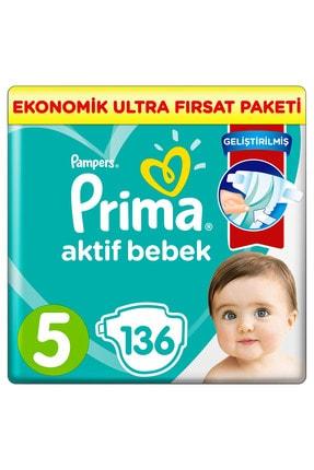Prima Bebek Bezi Aktif Bebek 5 Beden 136 Adet Ekonomik Ultra Fırsat Paketi 0
