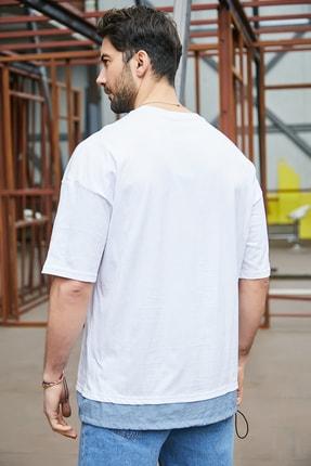 Sateen Men Erkek Beyaz Cepli T-Shirt 3