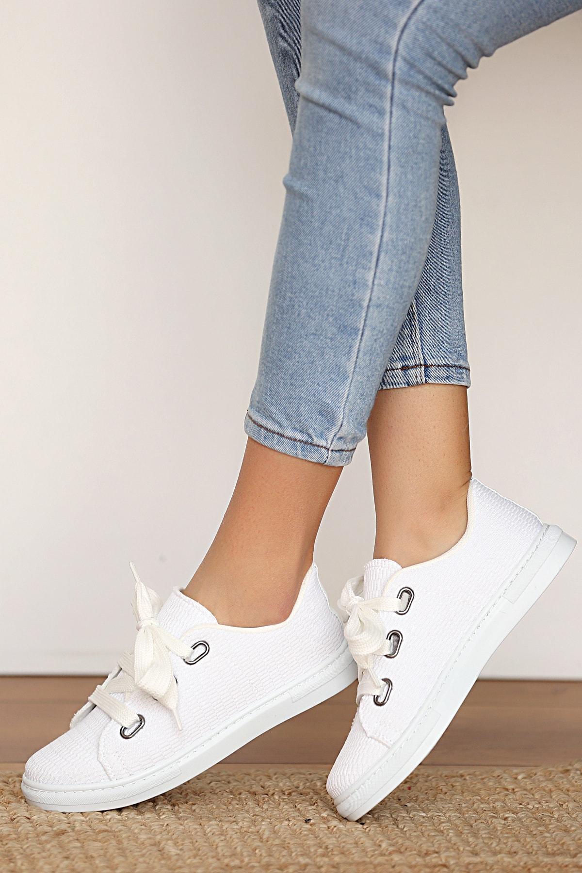 Kadın Beyaz Keten Ayakkabı