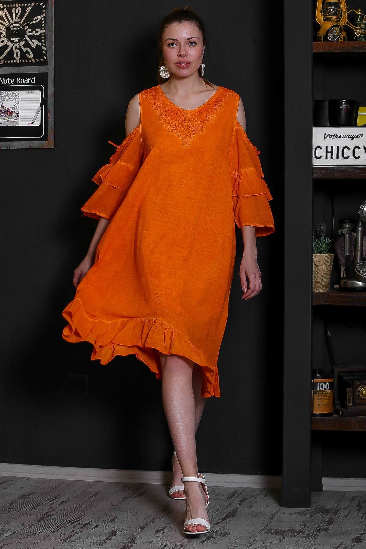 Chiccy Kadın Turuncu Dantel Yakalı Omuzları Pencereli Volanlı Astarlı Yıkamalı Elbise M10160000EL95361 3