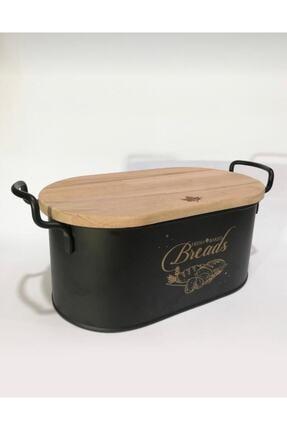 metalshop Metal Siyah Kesme Tahtalı Ekmeklik Bambu Kapaklı Lüx Metal Ekmek Kovası 0