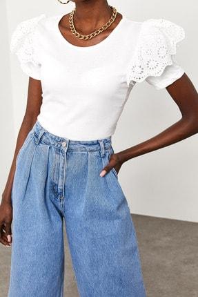 Xena Kadın Beyaz Kolları Güpürlü T-Shirt 1KZK2-11588-01 3