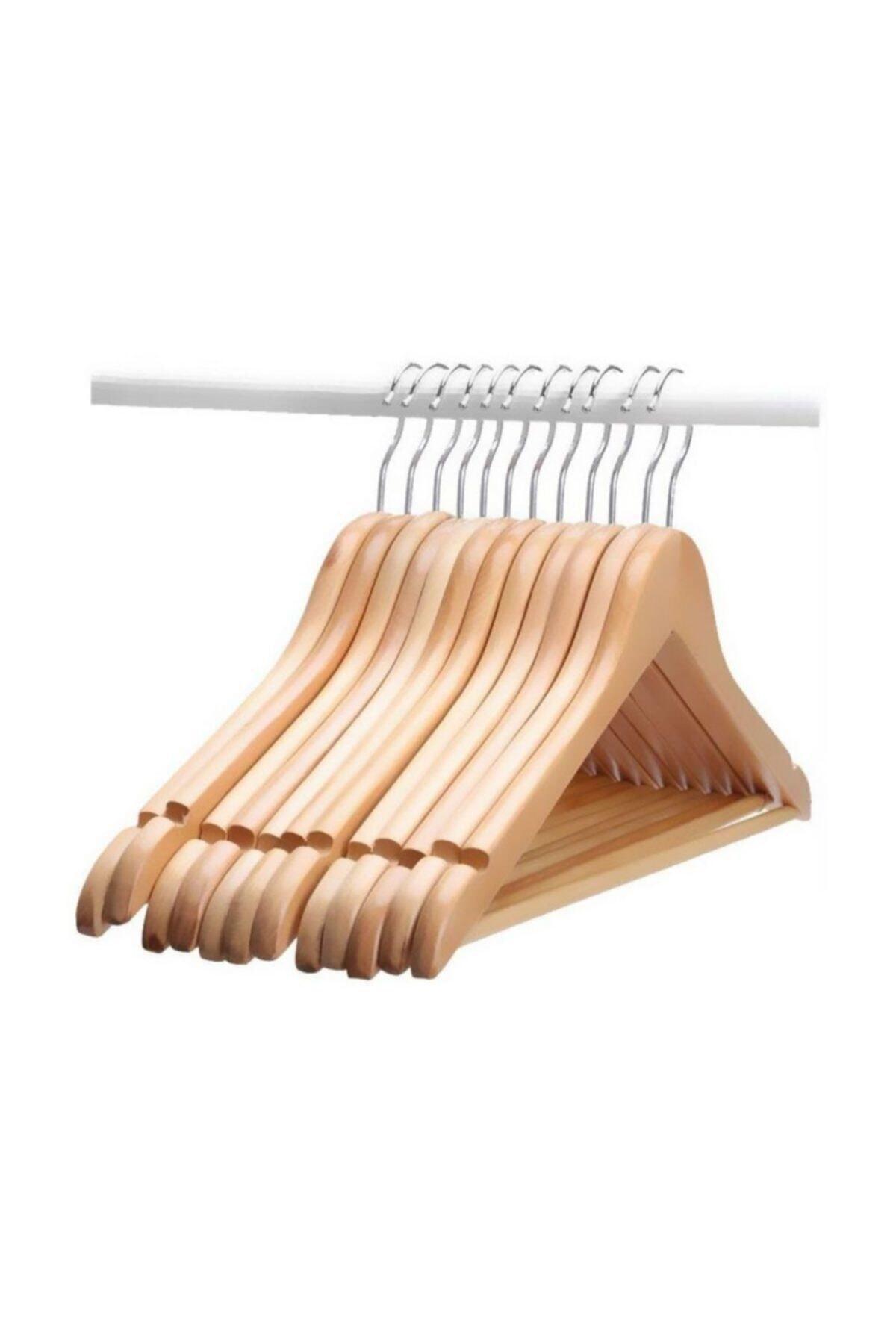 Elbise Askısı Ahşap Kıyafet Askılık 12 Adet Vernikli