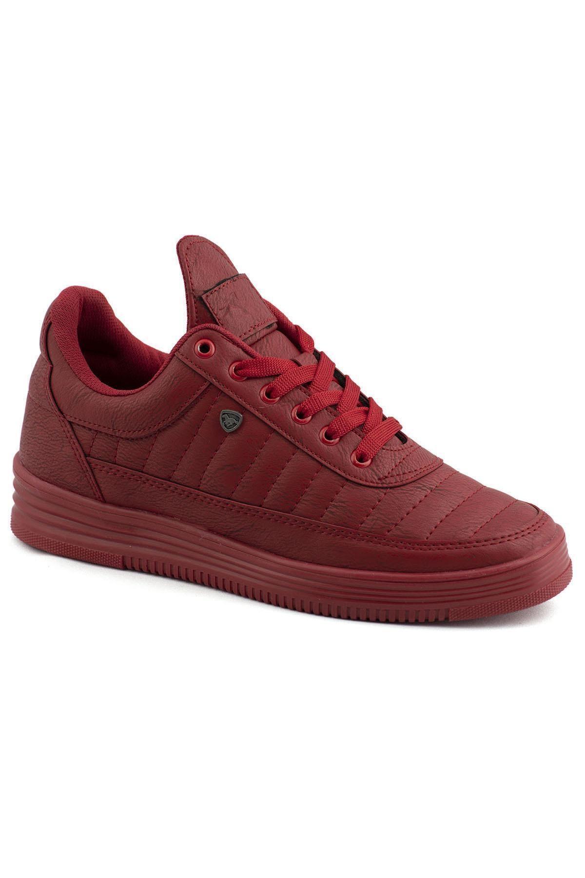 07 Kırmızı Kırmızı Dikişli Unisex Spor Ayakkabı