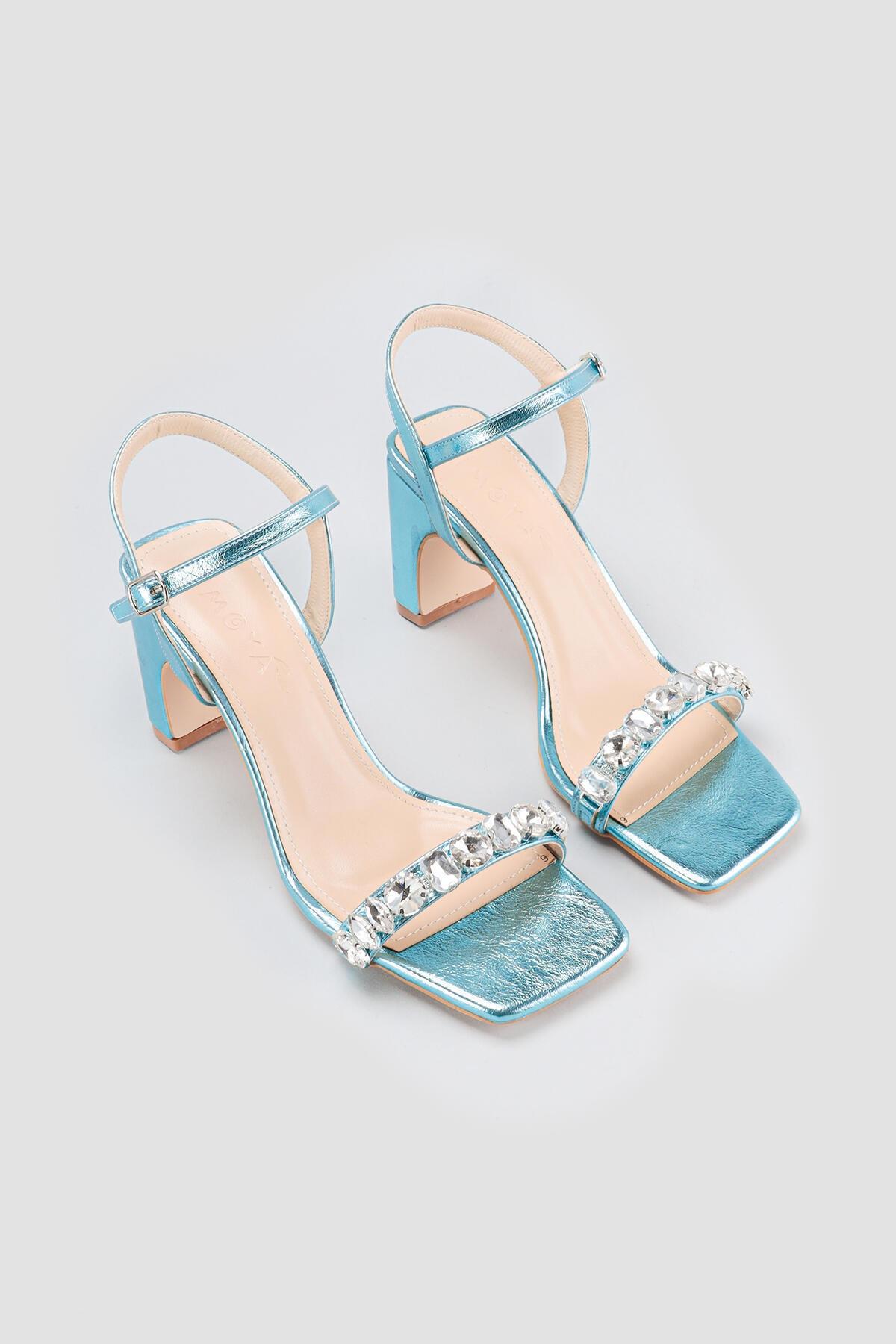 Kadın Mavi Taşlı Topuklu Sandalet