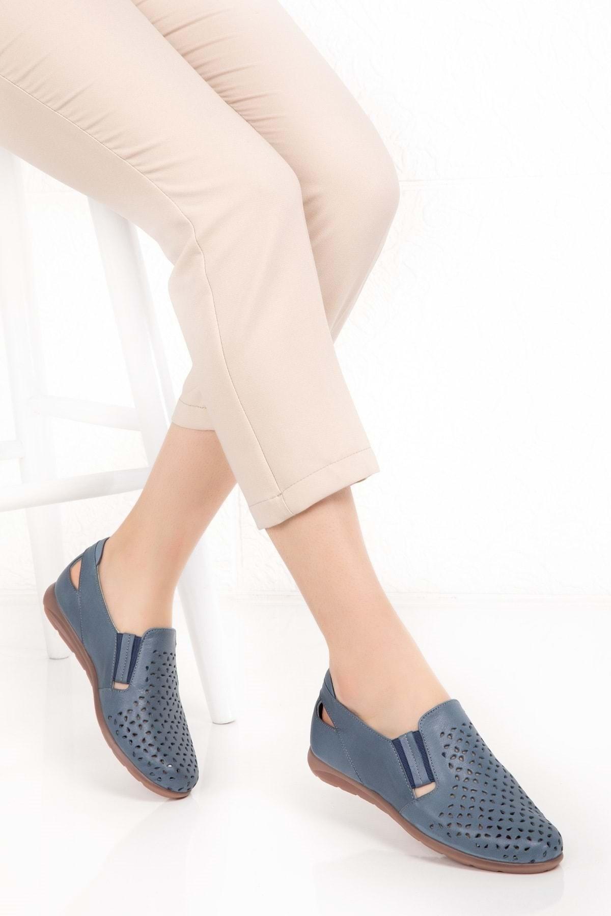 Kadın Mavi Hakiki Deri Ortopedik Taban Günlük Ayakkabı Esfa.152y - - 40