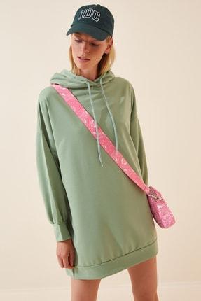 تصویر از Kadın Açık Çağla Yeşili Mevsimlik Kapüşonlu Oversize Sweatshirt EN00515