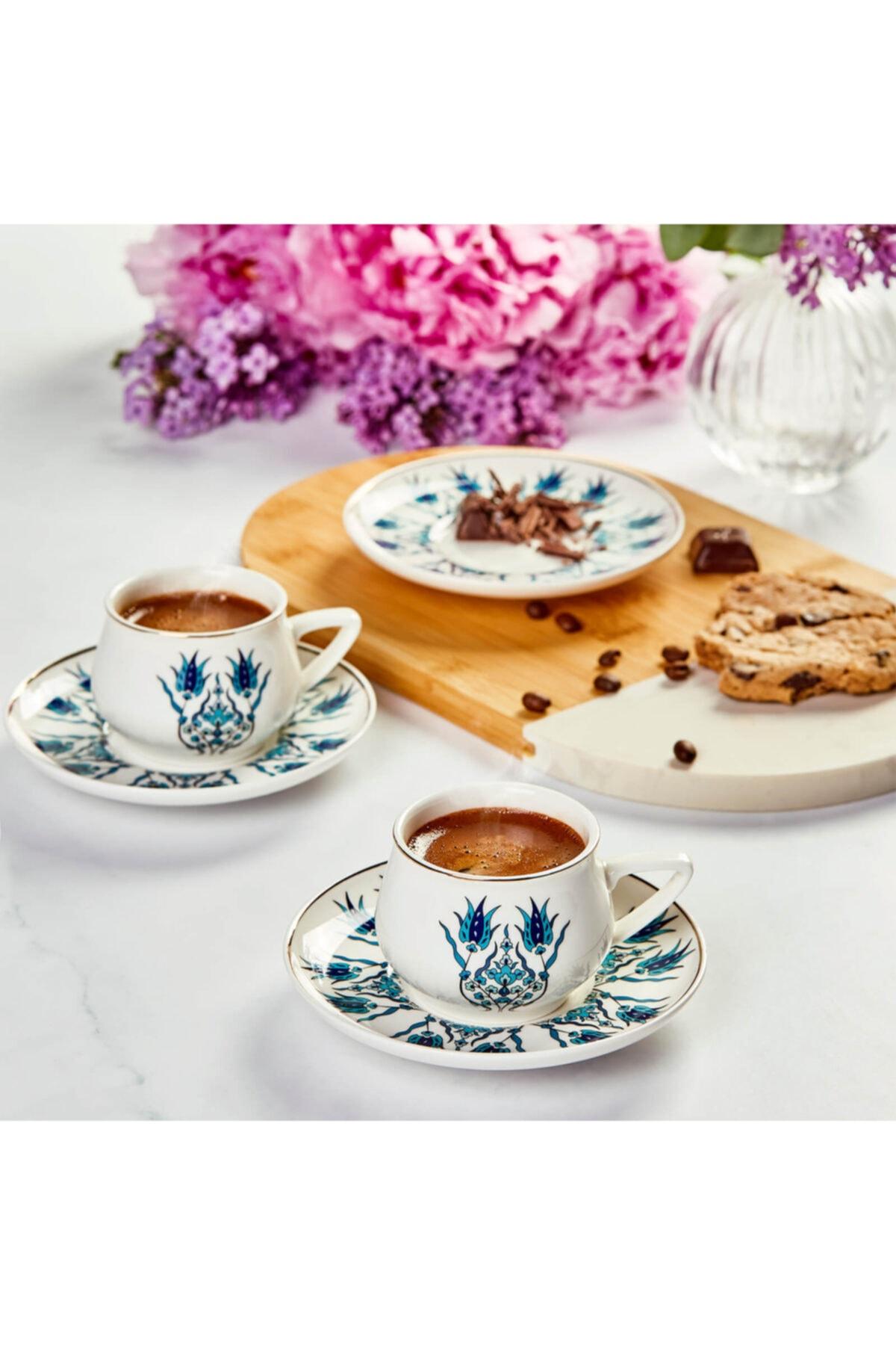 Iznik Yeni Form 6 Kişilik Kahve Fincanı Takımı