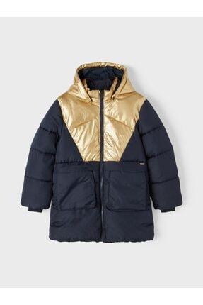 Picture of 13192673 Nkfmitta Long Puffer Jacket Lacivert Gold 14 Yaş