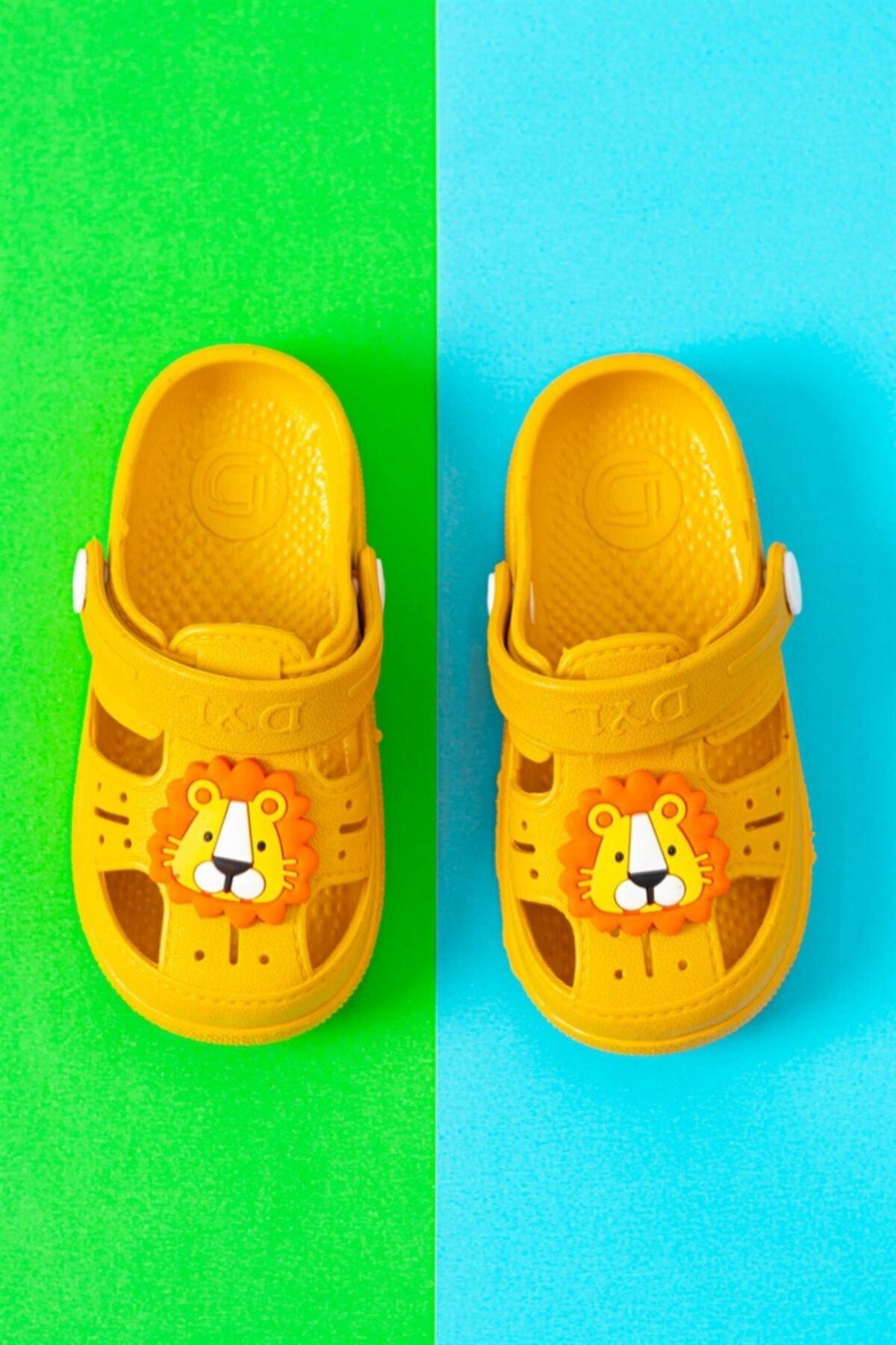 Çocuk Günlük Ortopedik Kaydırmaz Tabanlı Hayvan Figürlü Sandalet Terlik - Sarı