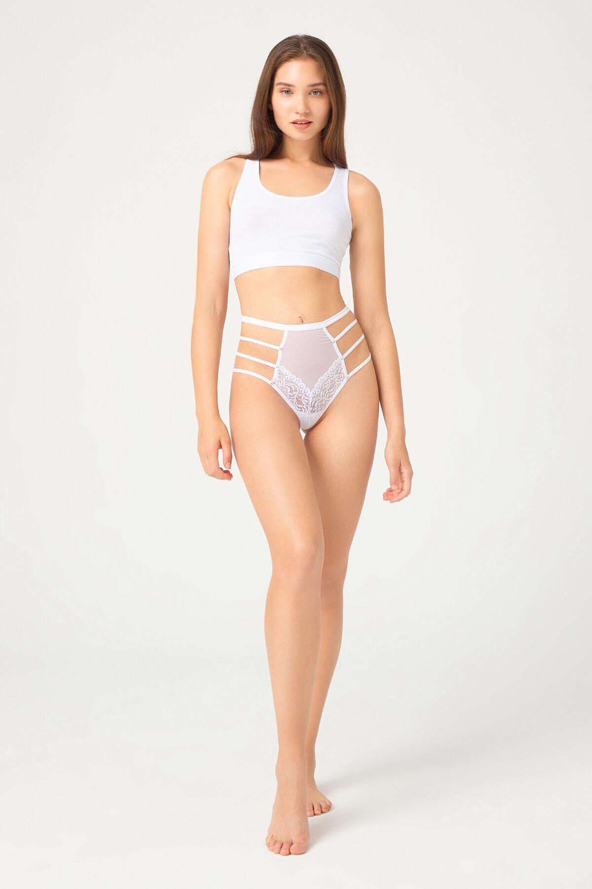 Beyaz Transparan Lastik Detaylı Fiyonklu Kadın Bikini Külot