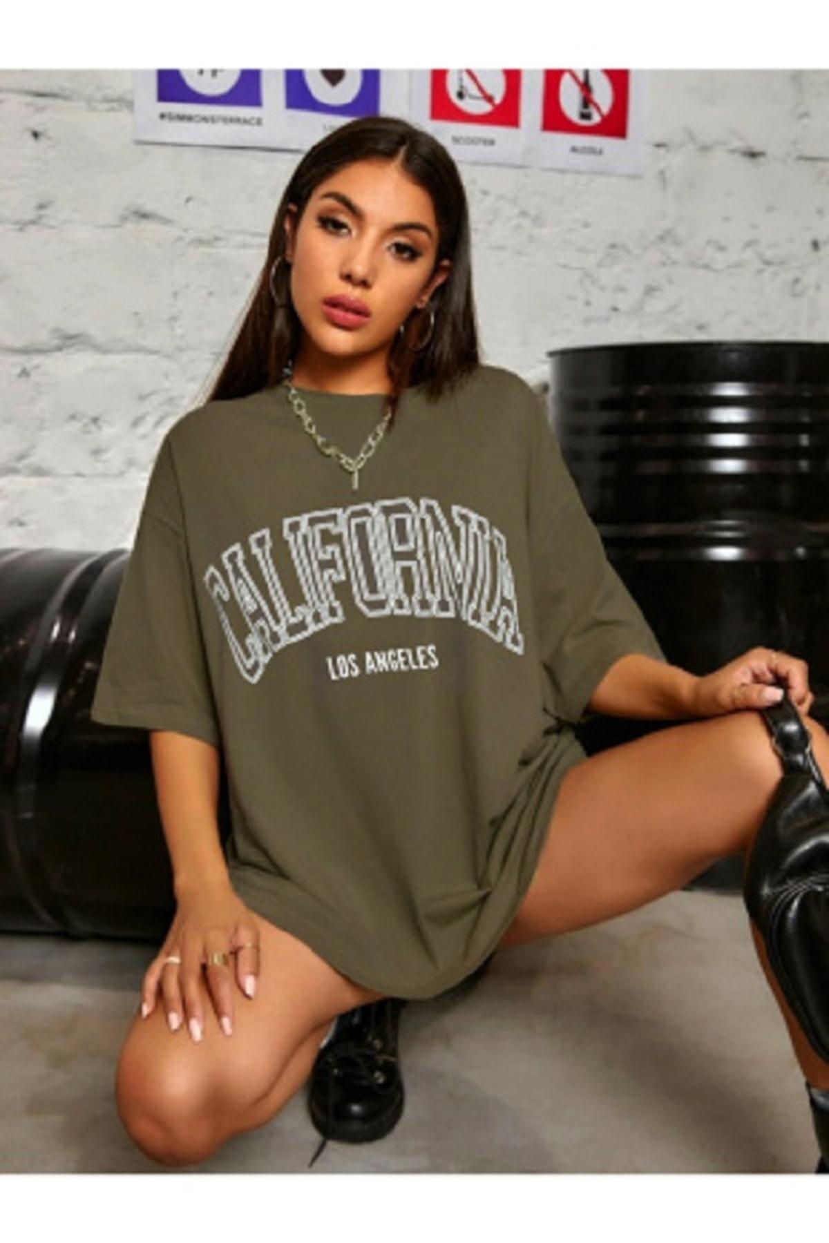 Kadın Haki Oversize California Los Angeles Baskılı T-shirt