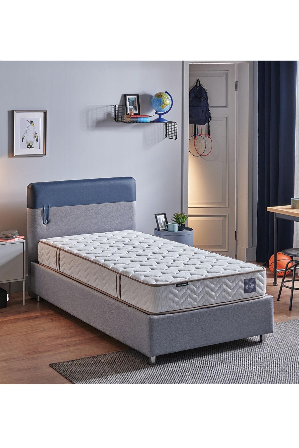 Loris Sandıklı Yatak Baza Başlık Genç Seti - Multi Yatak - Tek Kişilik - Mavi - Lacivert
