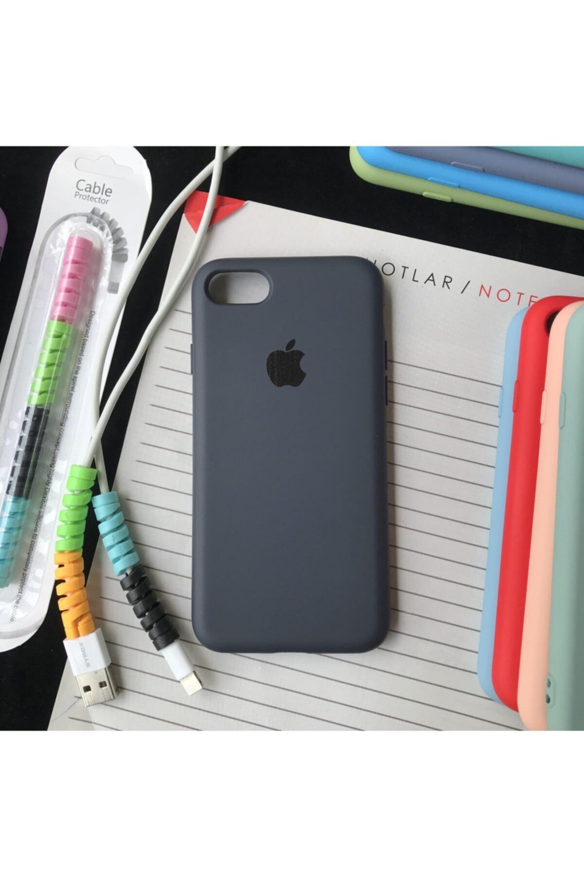 Iphone 7 Ve 8 Modellere Uyumlu, Logolu Lansman Kılıf Ve Kablo Koruyucu Makaron