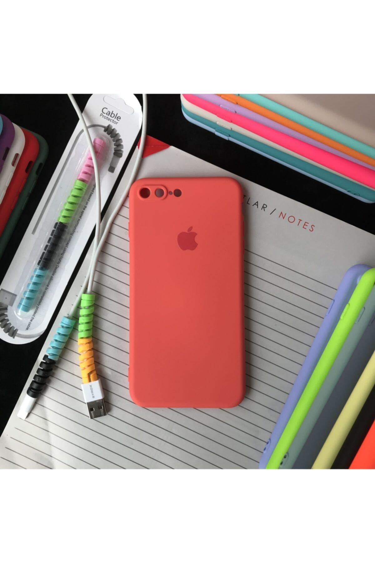 Iphone 7 Plus Ve 8 Plus Modellere Uyumlu, Logolu Lansman Kılıf Ve Kablo Koruyucu (new Color)