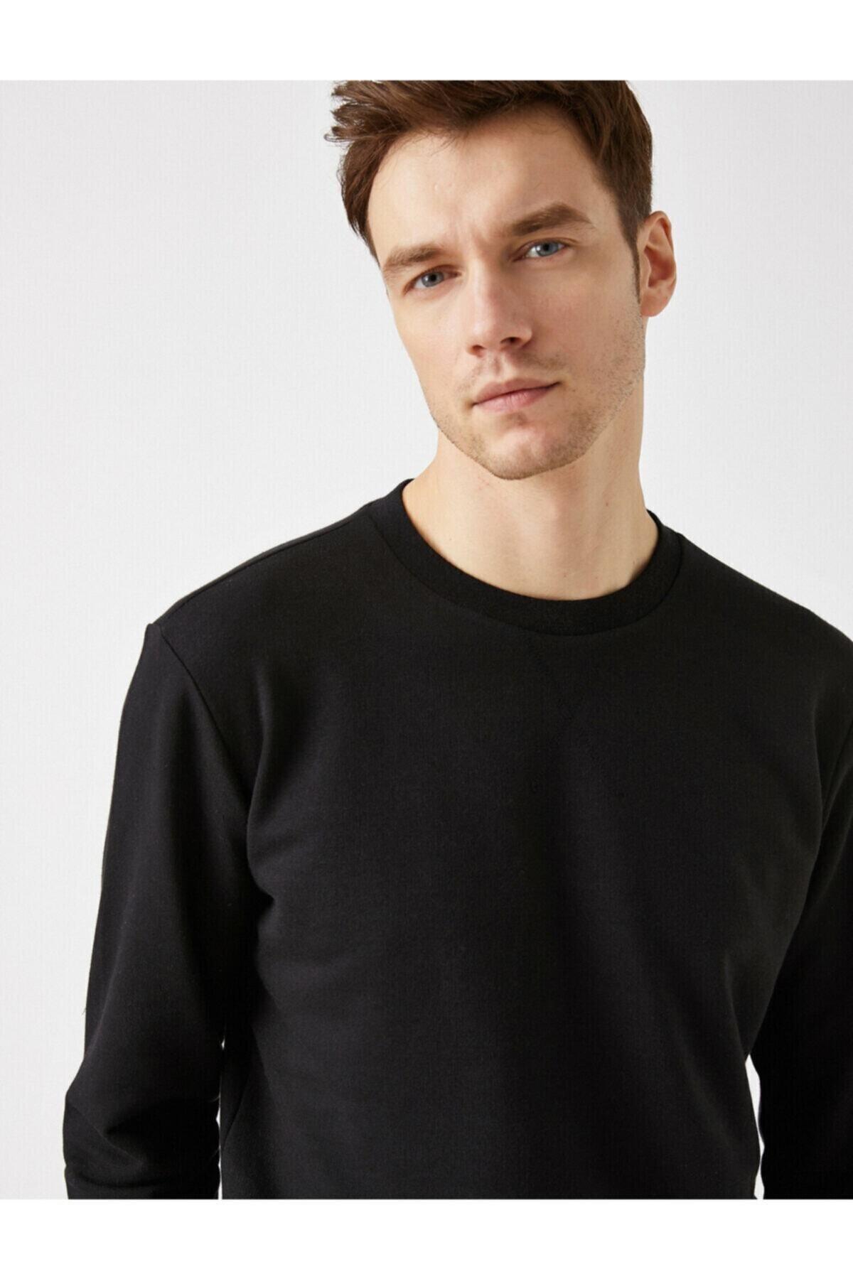 Erkek Pamuklu Basic Bisiklet Yaka Uzun Kollu Sweatshirt