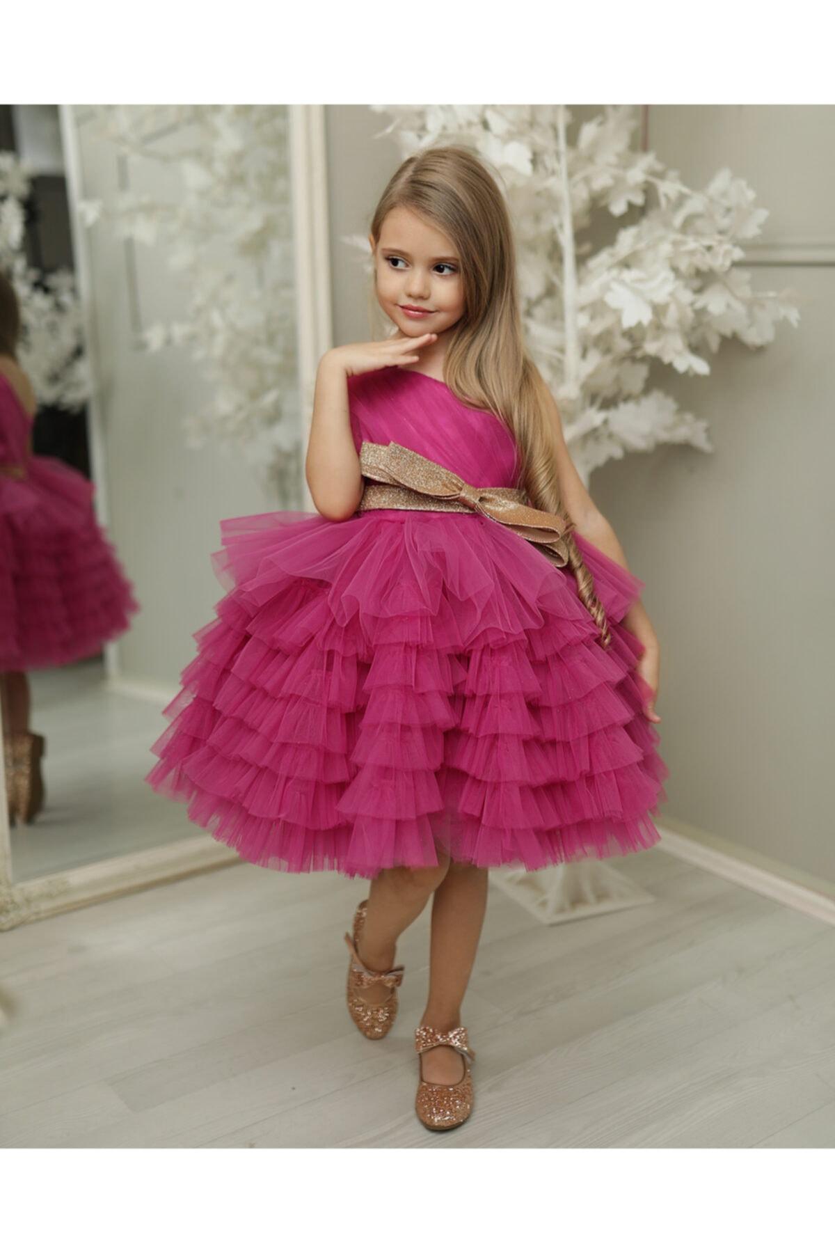 Kız Çocuk Mor Prenses Elbise Abiye