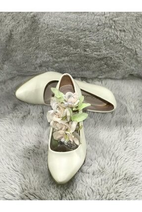 Kemik Rengi Cilt Deri Kadın Topuklu Ayakkabı TYC00213566940