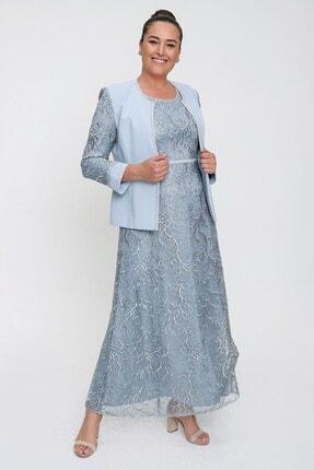 Picture of Boncuk Detaylı Dantelli Astarlı Büyük Beden Ceket Elbise Ikili Takım Bebe Mavi