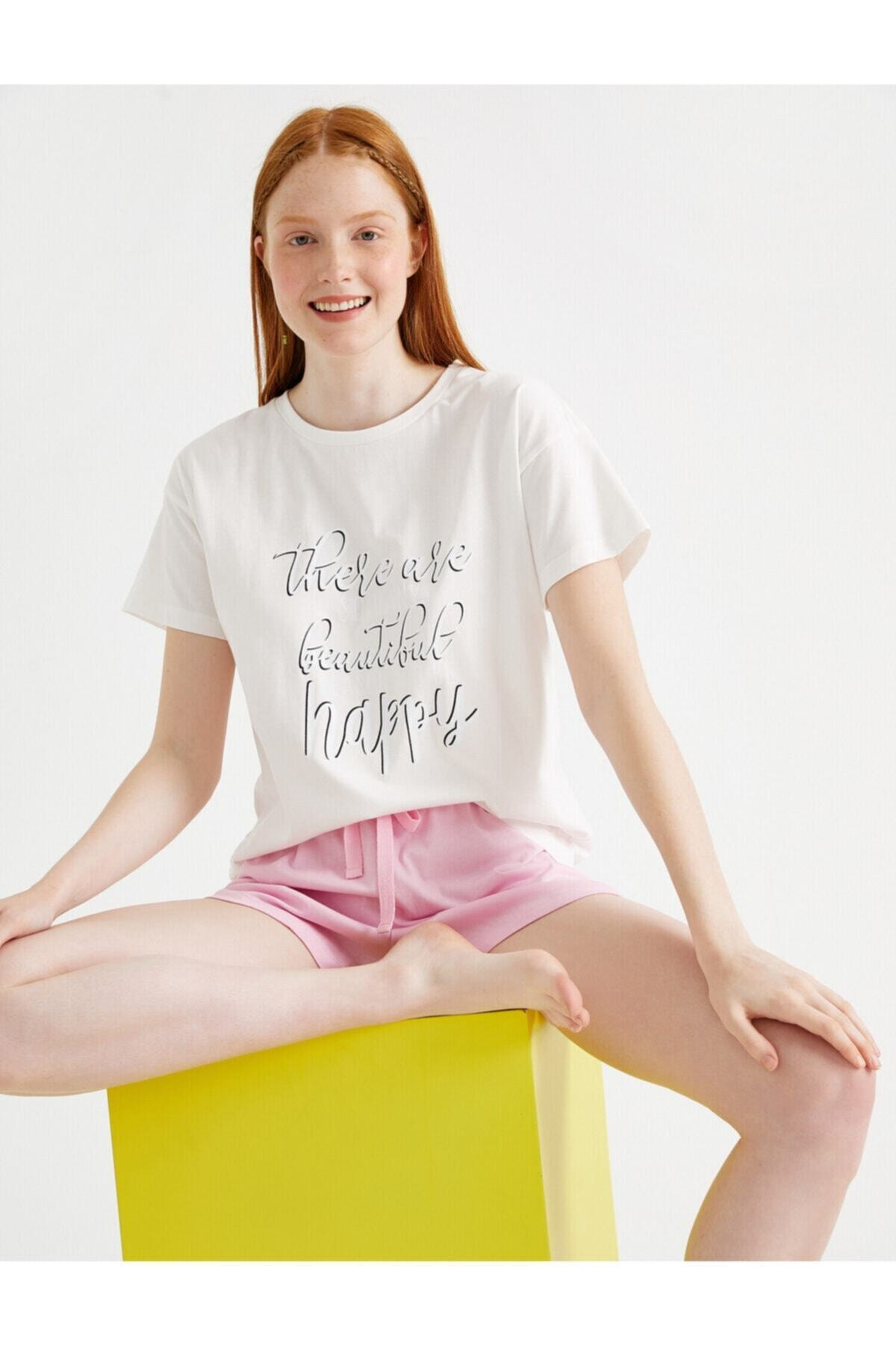 Kadın Baskili Pijama Takimi Pamuklu