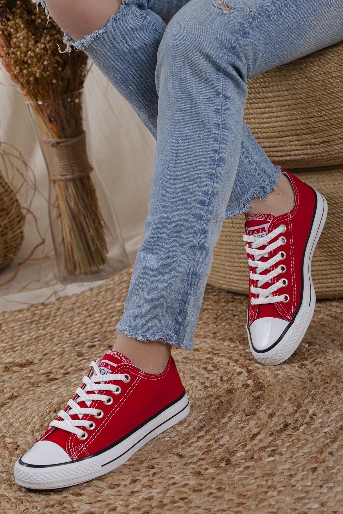 Unisex Kırmızı Ortopedik Şeritli Sneakers Cnvrs3579746
