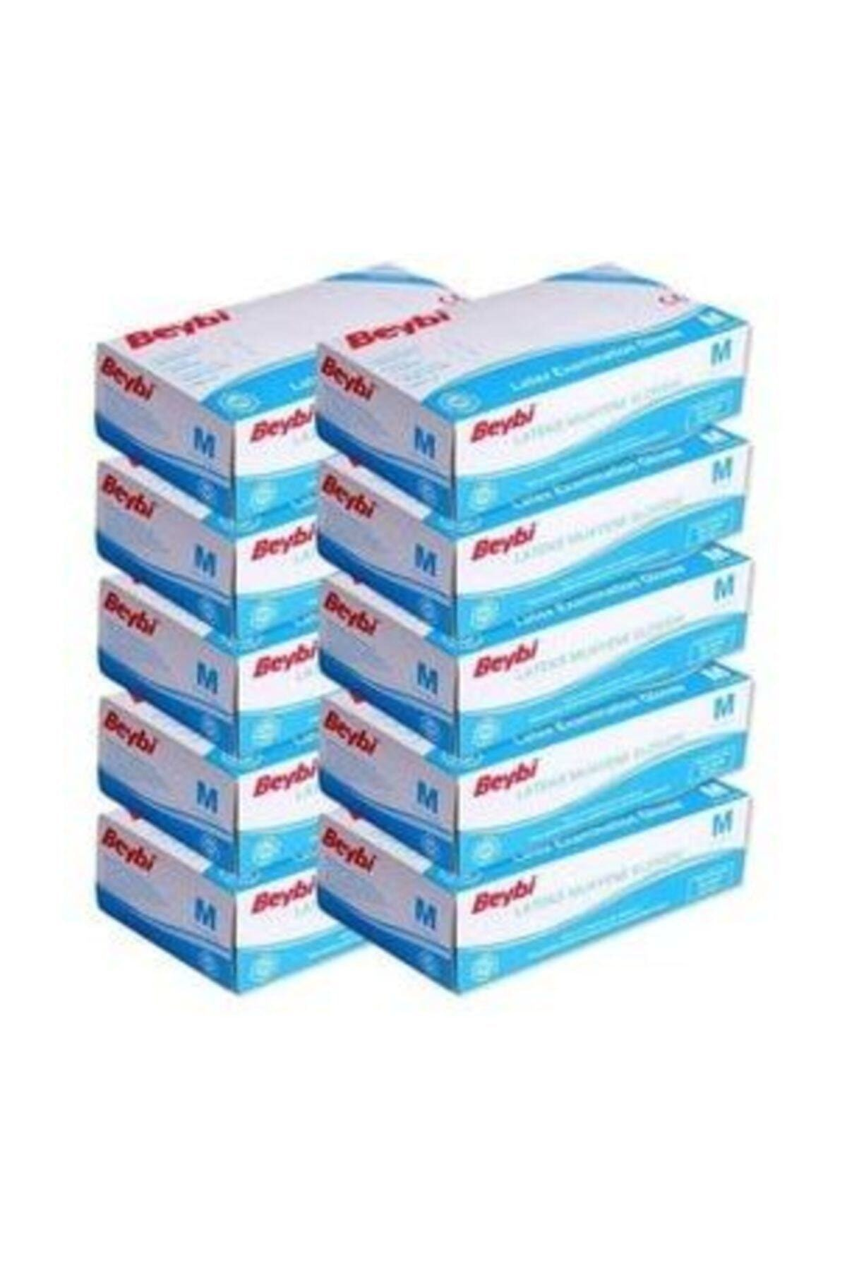Latex Eldiven Pudralı M Beden 100'lü- 10 Paket