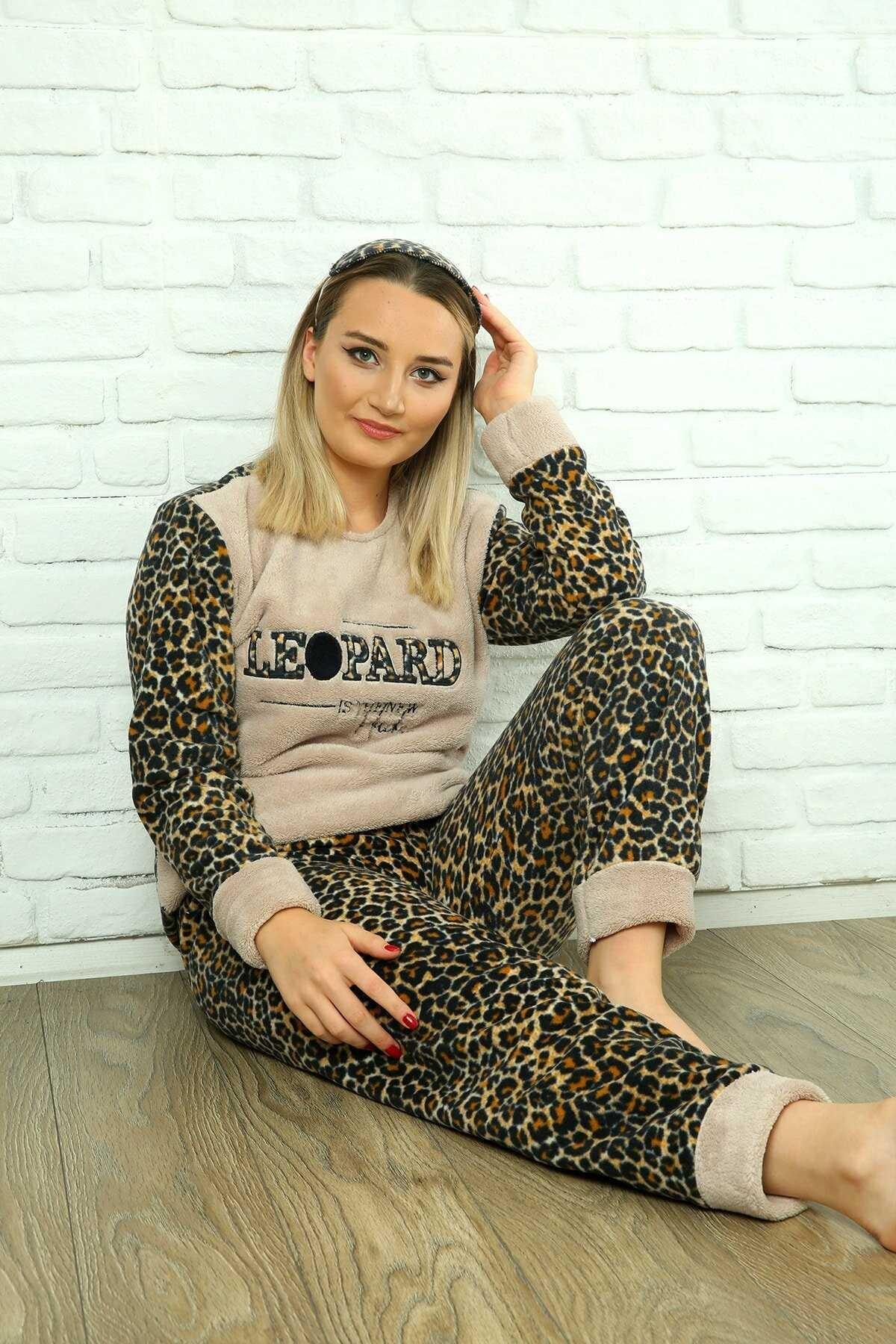 Homewear Wlsf-a-2005 Kahve Kadın Polar Pijama Takımı