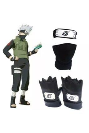 تصویر از Anime Naruto Hapyto Hatake Kakashi Kafa Bandı Yüz Maskesi Ve Eldiven Seti