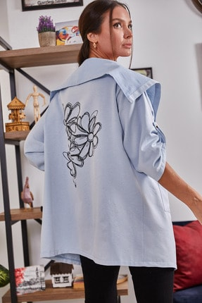 تصویر از Kadın Bebe Mavi Sırtı Çiçek Baskılı Mevsimlik Ceket ARM-20K024030