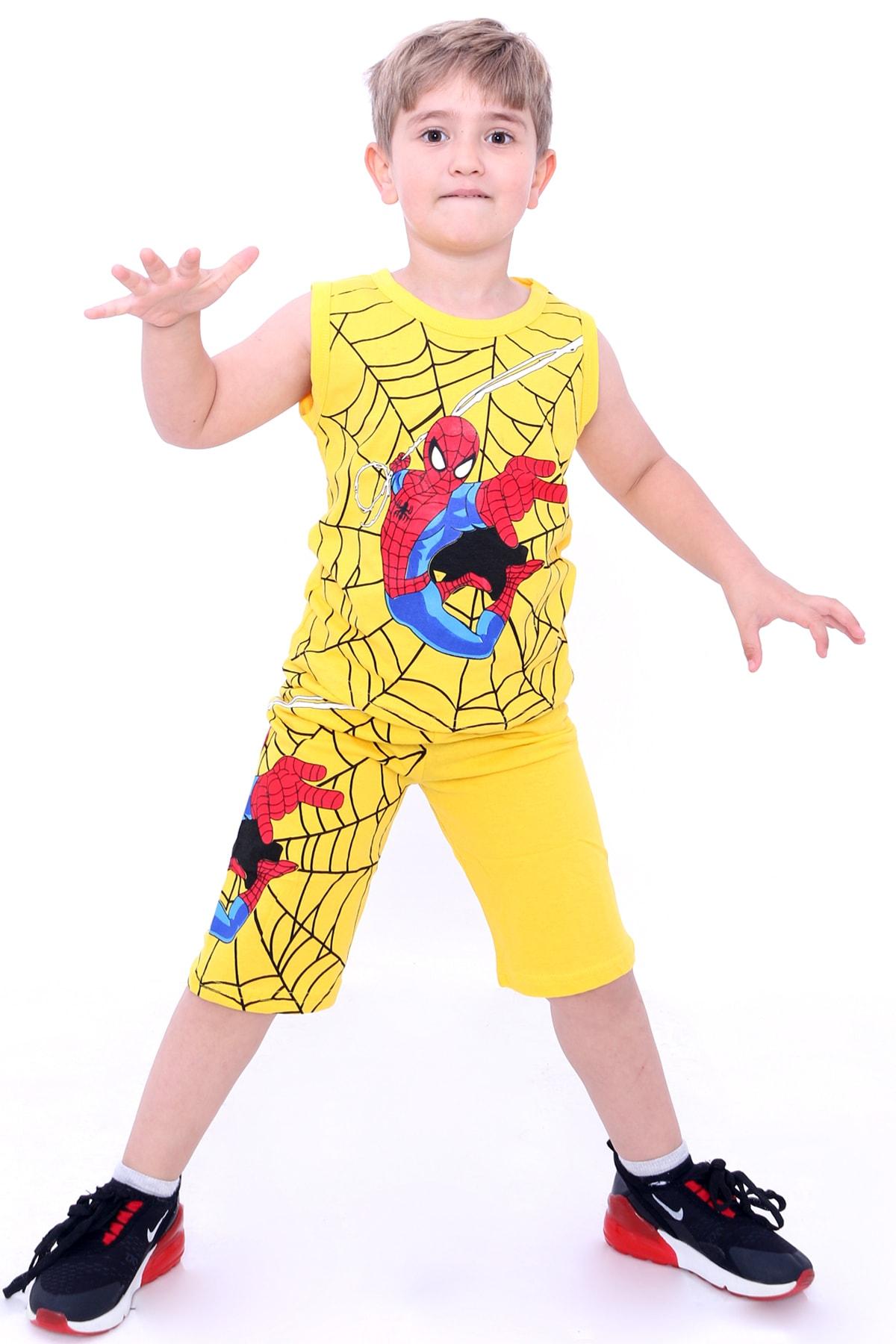 Erkek Çocuk Sarı Örümcek Baskı 2-9 Yaş Şortlu Takım 4042-1