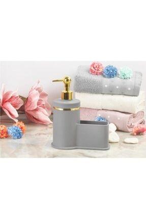 Akrilik Mutfak Sıvı Sabunluk Ve Süngerlik Set Bulaşık Süngerliği Mat Gri-altın İMR533