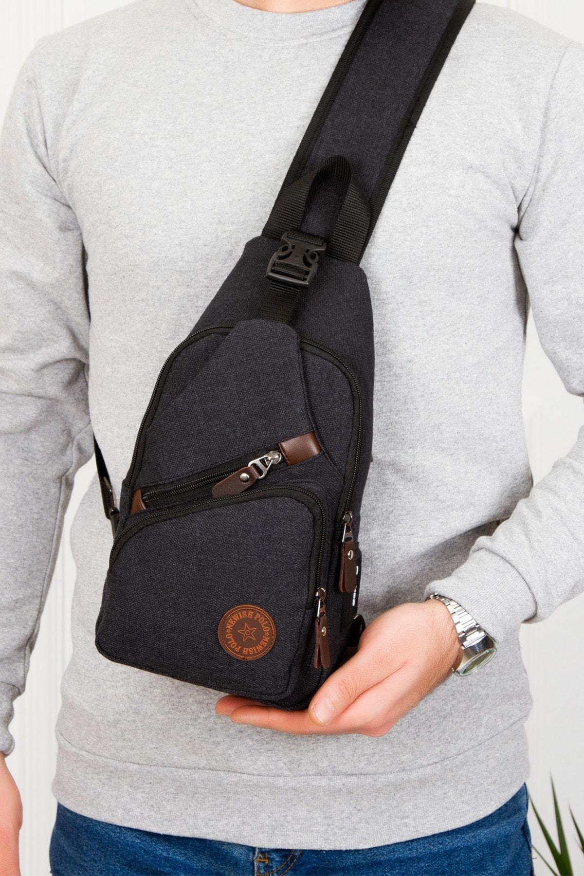 Unisex Kanvas Usb Kulaklık Çıkışlı Çapraz Askılı Bel Omuz Çanta Göğüs Bodybag