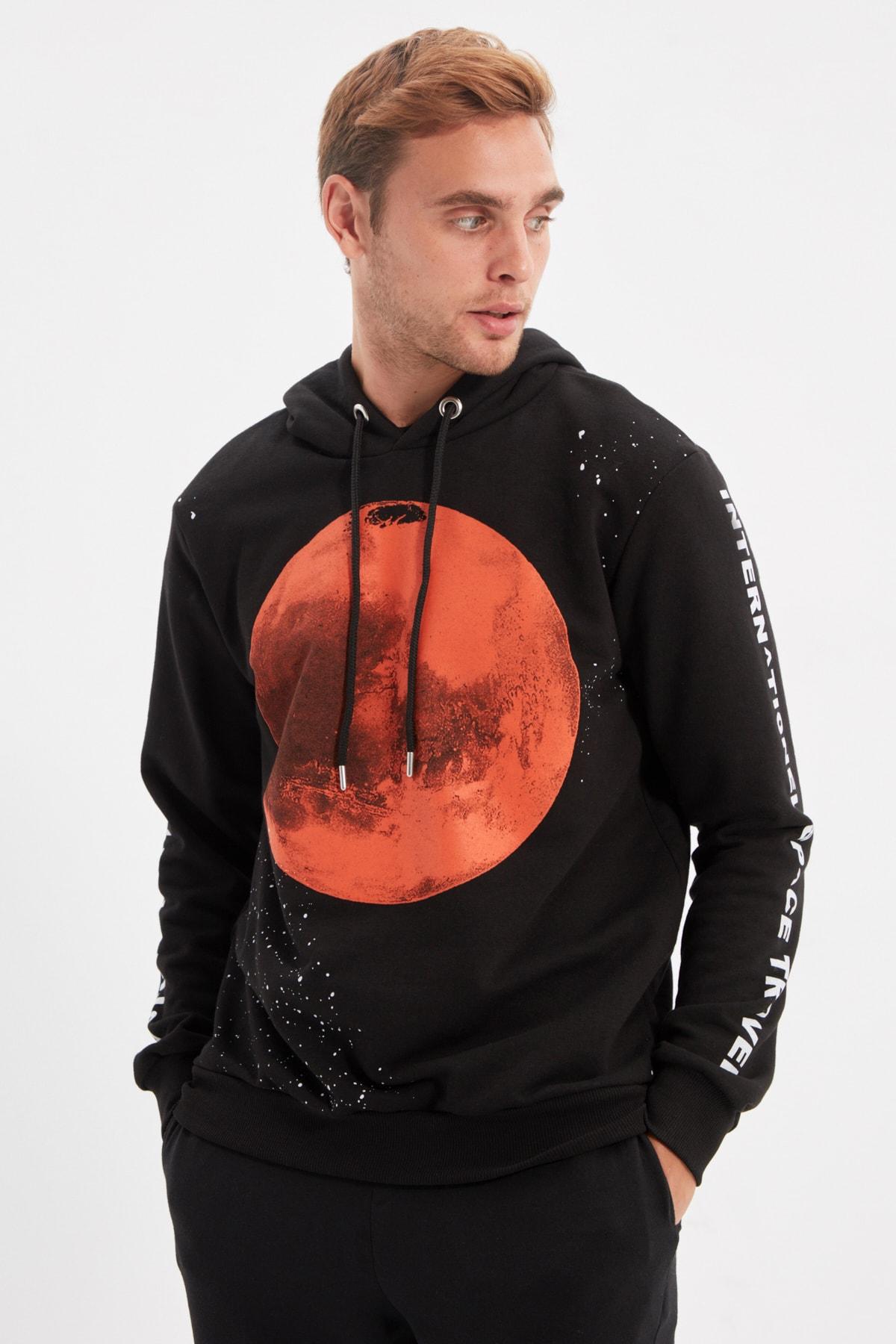 هودی ترندیول من مردانه مشکی فضایی طرح مریخ  Trendyol man