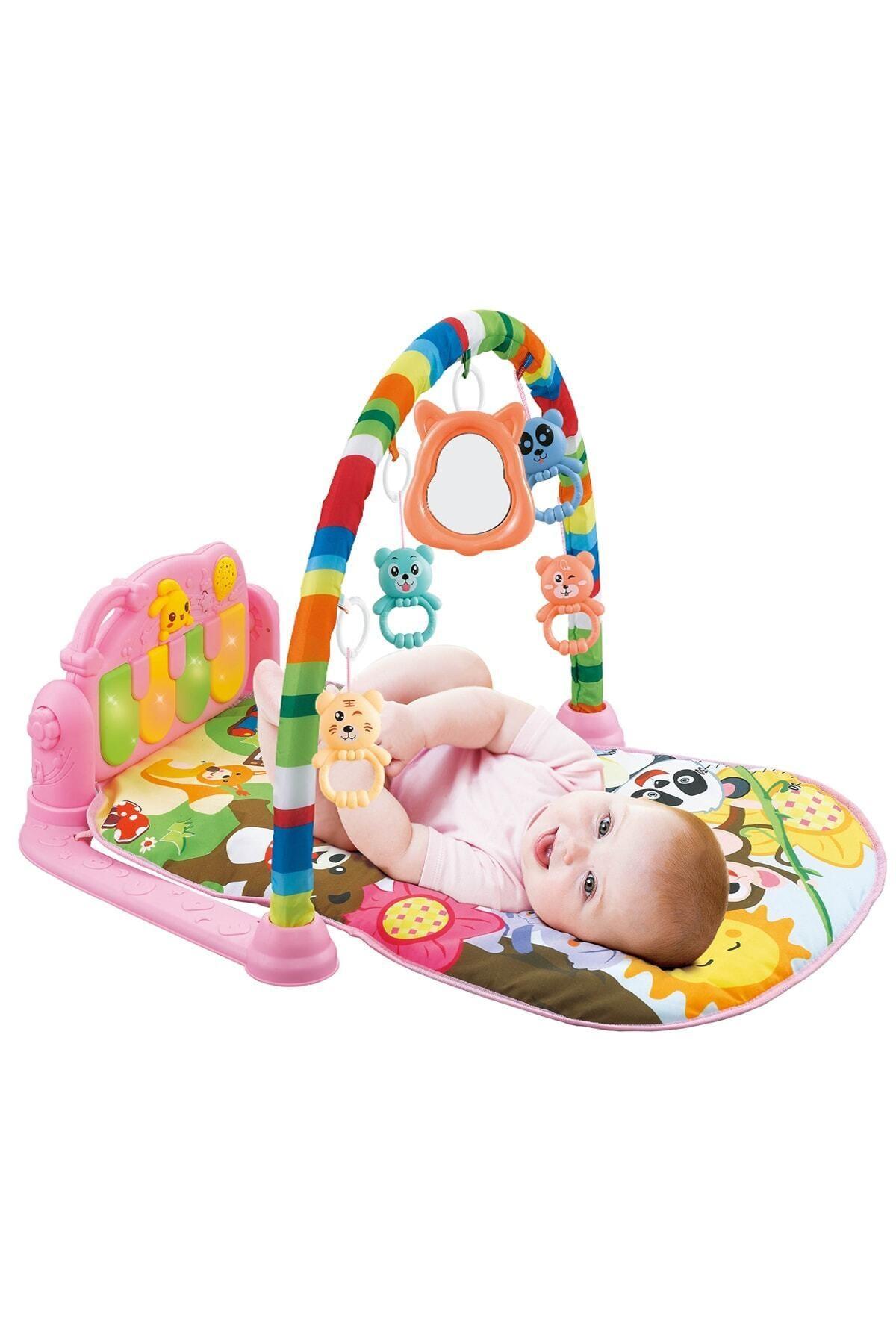 Piyanolu Bebek Oyun Halısı Eğitici Oyuncak Pembe Ekonomik Model
