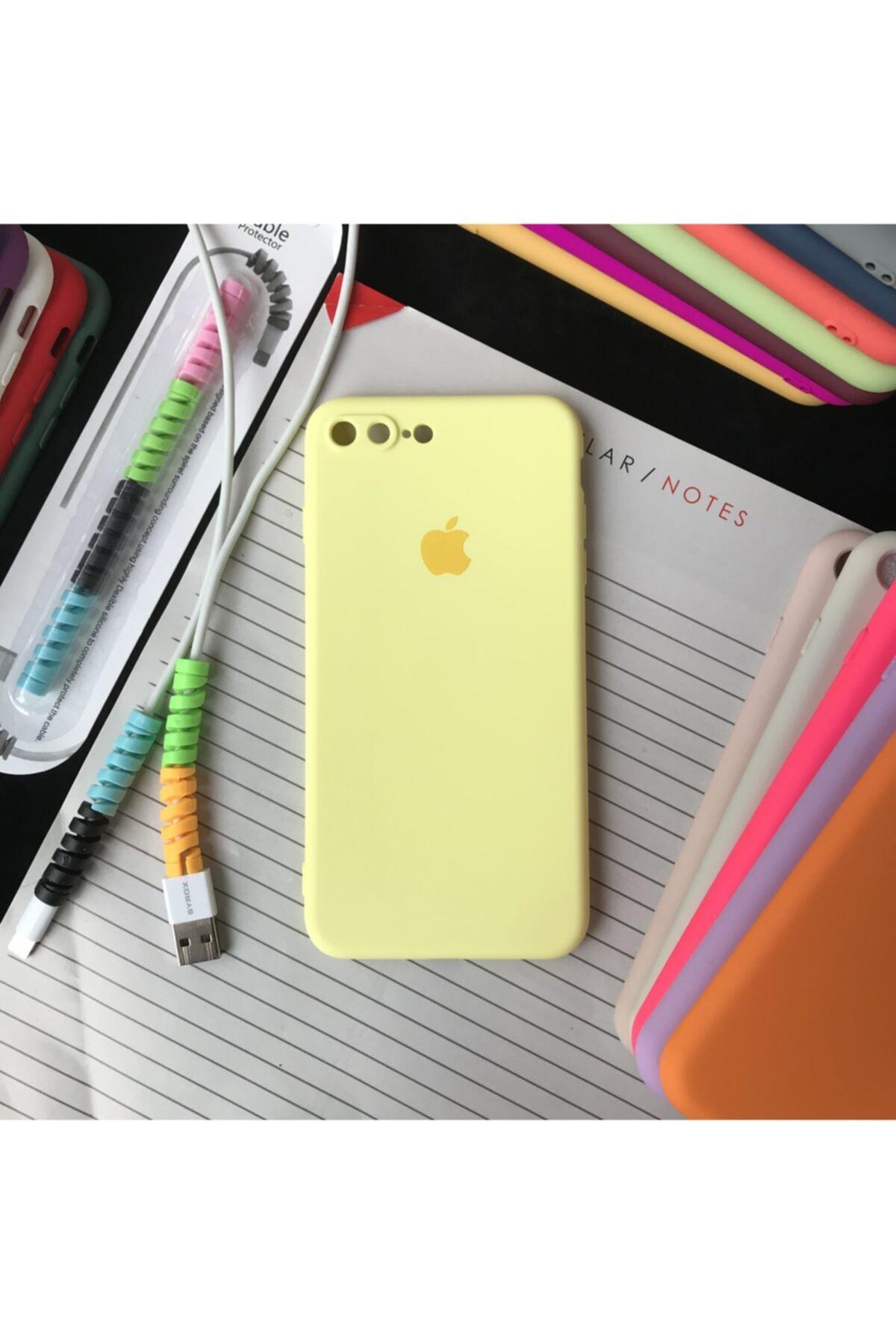 Iphone 7 Plus Ve 8 Plus Modellere Uyumlu, Logolu Lansman Kılıf Ve Kablo Koruyucu Makaron