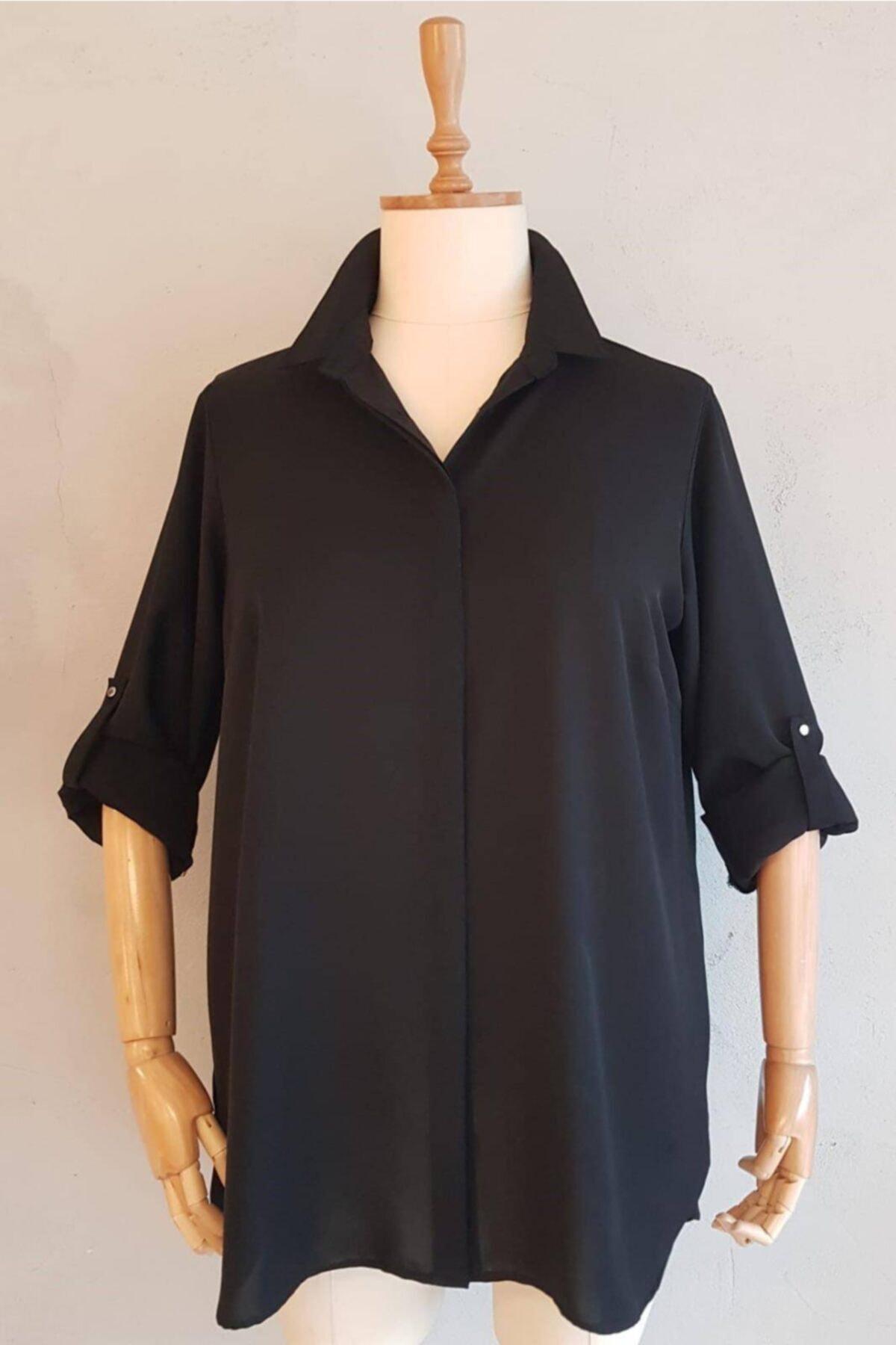 Büyük Beden Kadın Siyah Kapalı Patlı Gömlek