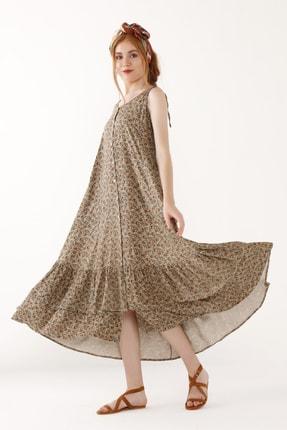 Büyük Beden Ince Askılı Desenli Elbise 3295b Vizon 3295B_040