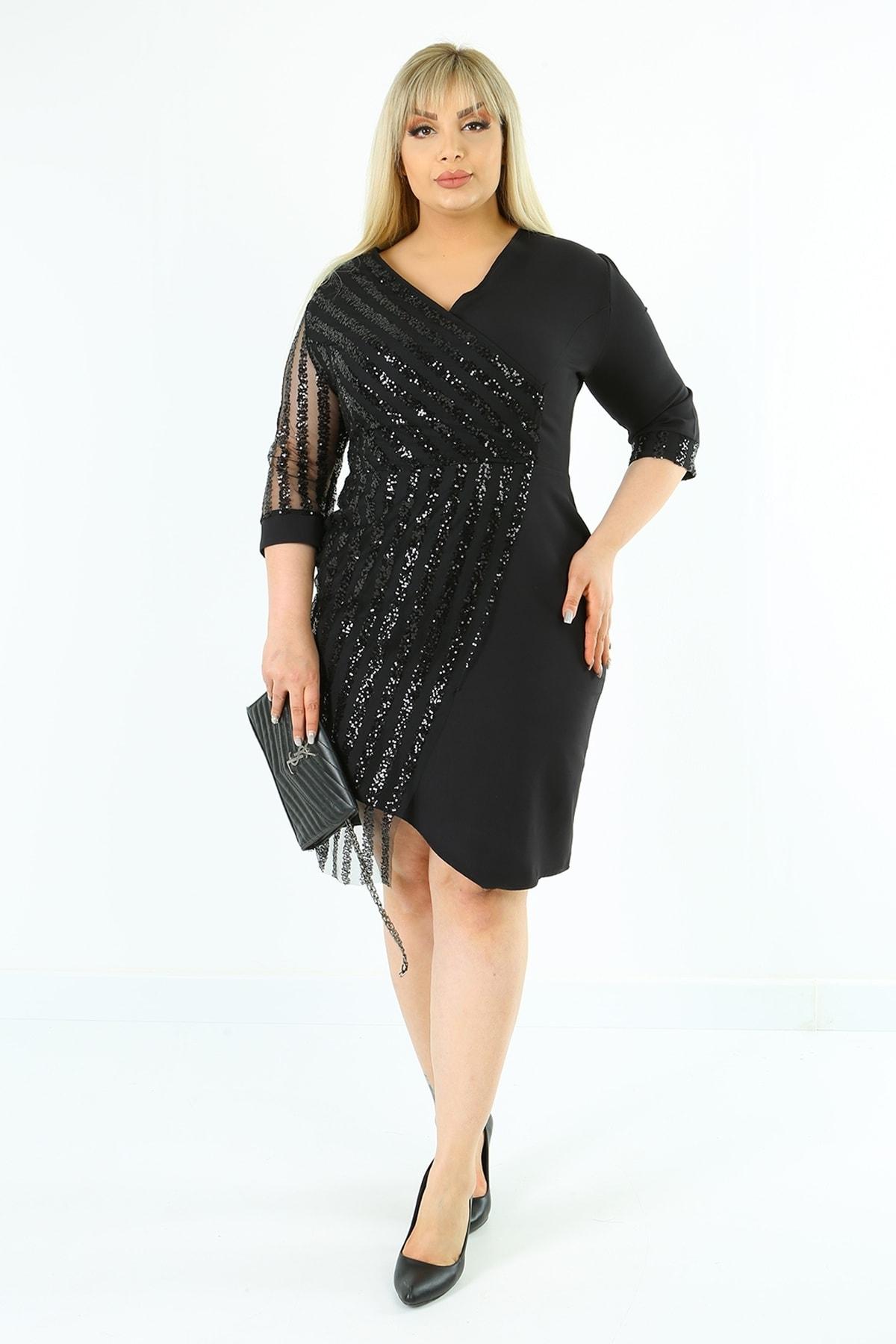 Kadın Siyah Büyük Beden Pul Garnili Elbise