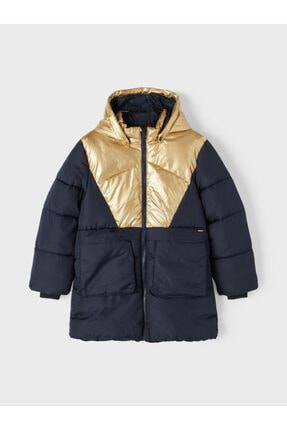 Picture of 13192673 Nkfmitta Long Puffer Jacket Lacivert-gold 13 Yaş