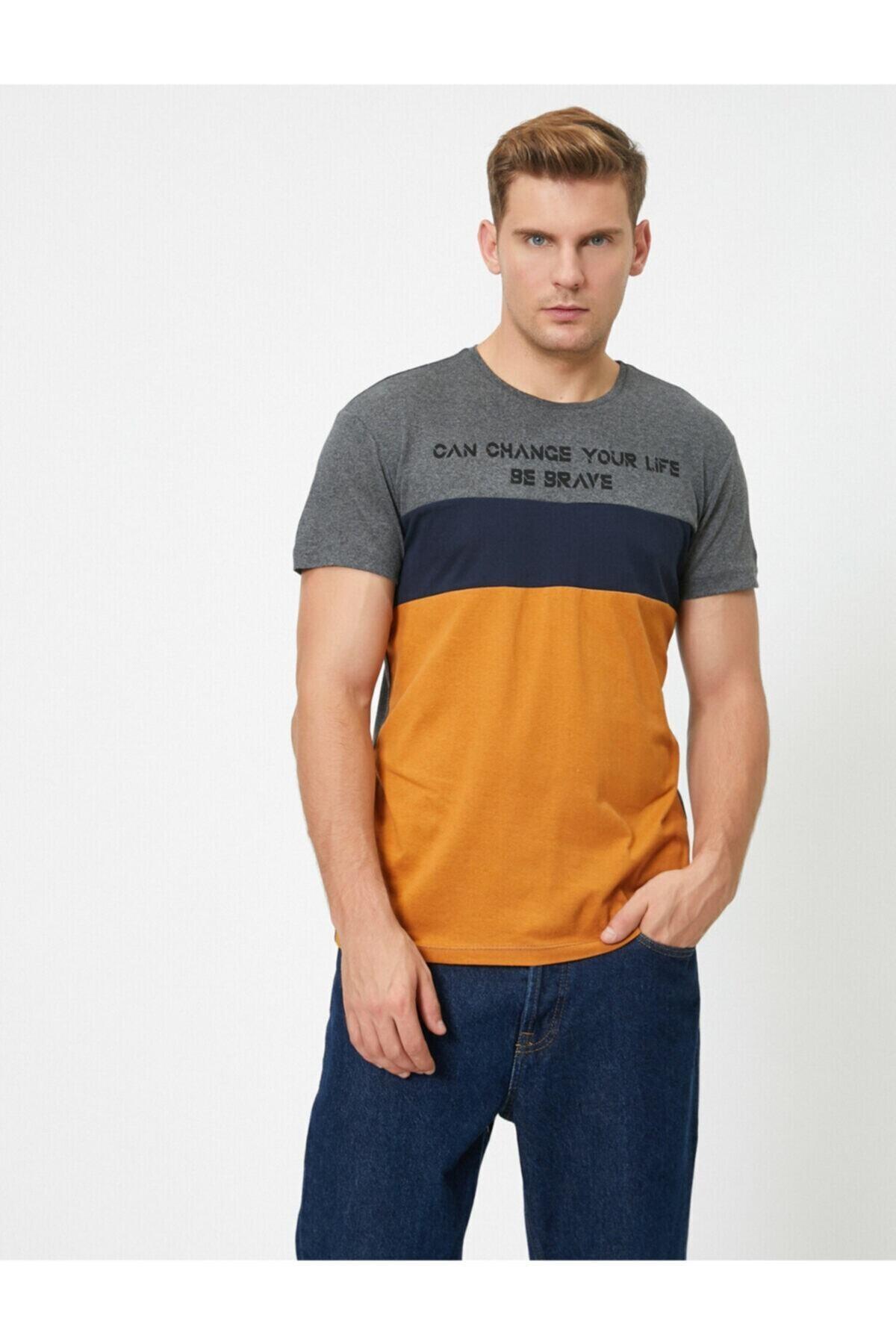 Erkek Bisiklet Yaka Blok Renkli Yazılı Baskılı Tişört