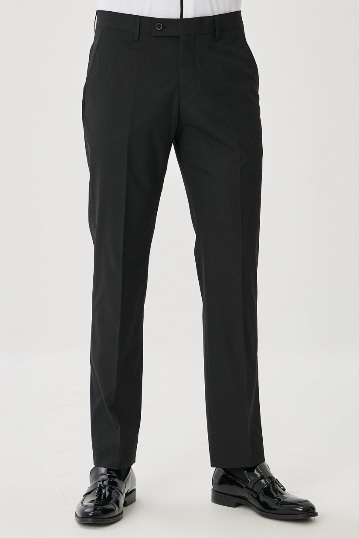 Erkek Siyah Regular Fit Klasik Pantolon