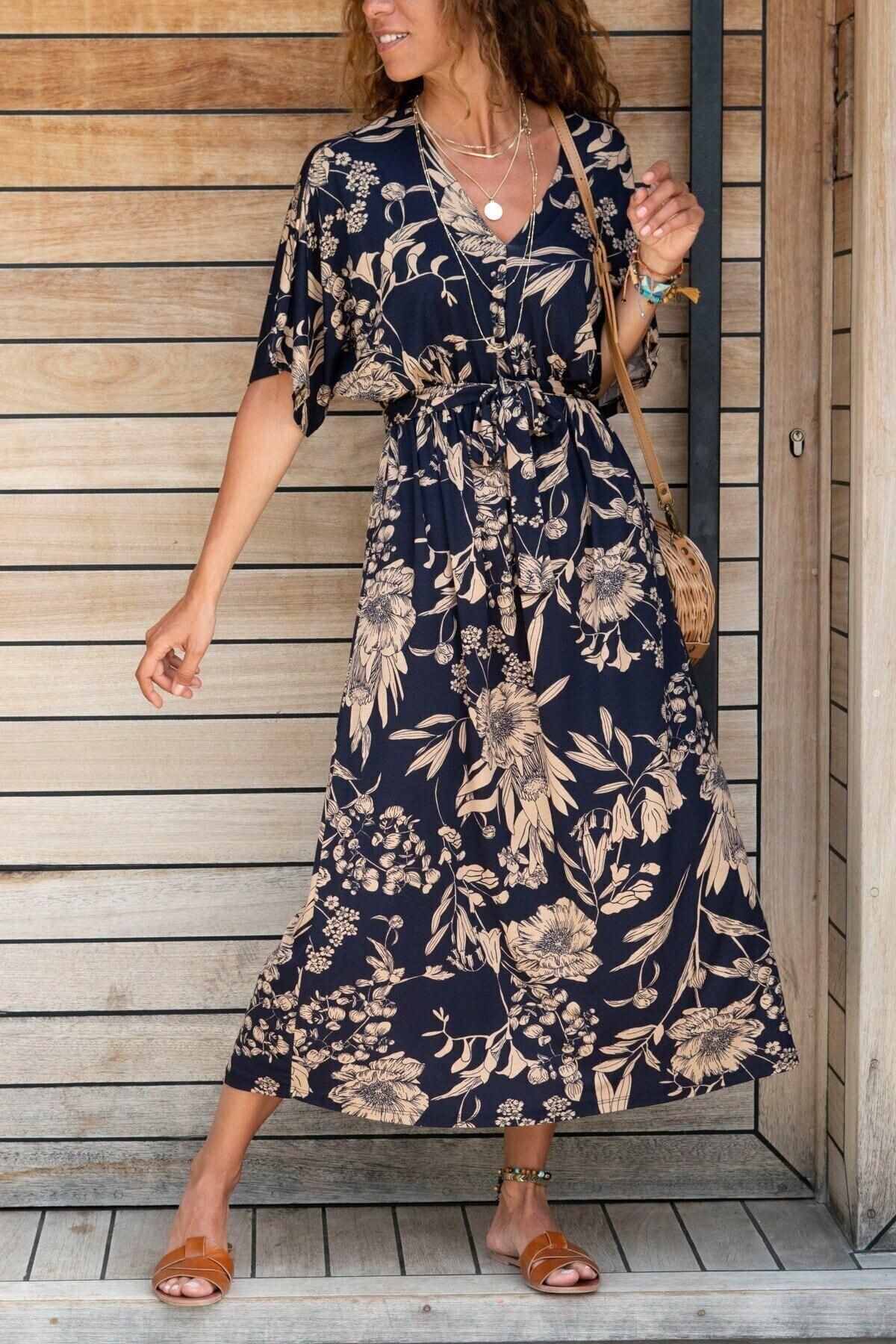 Kadın Lacivert V Yaka Beli Büzgülü Viskon Salaş Elbise Daisy01020121