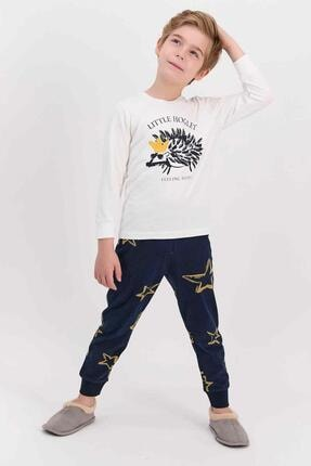 تصویر از 1558 Krem Little Hoglet Krem Erkek Çocuk Uzun Kol Pijama Takımı