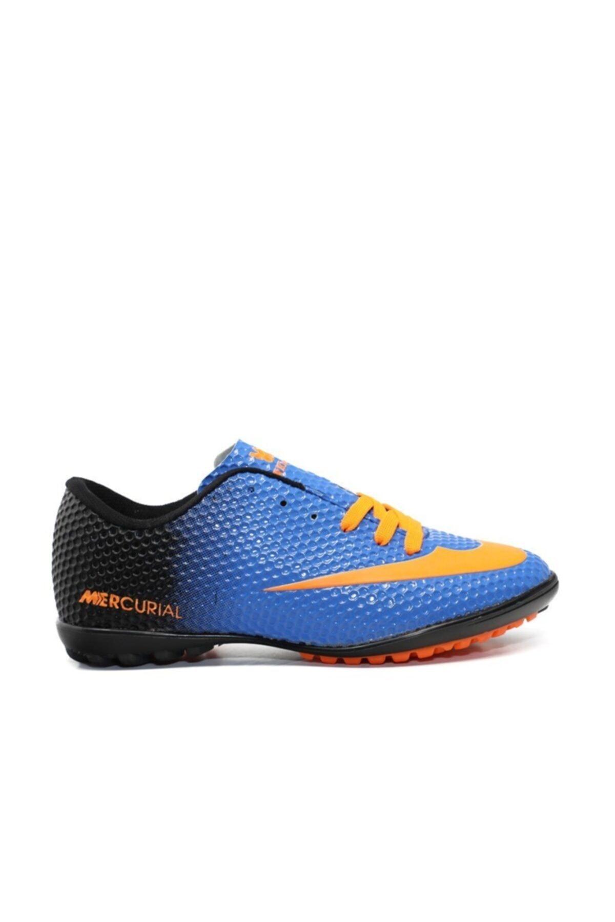 401 Mavi Turuncu Erkek Halı Saha Ayakkabısı