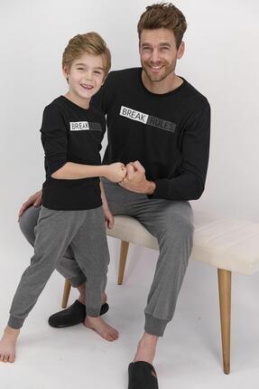 تصویر از 1607 Break Rules Siyah Erkek Çocuk Pijama Takımı