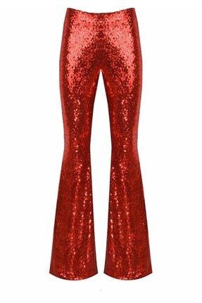 Kırmızı Parlak Ispanyol Paça Pantolon İRYAS-PNT-06