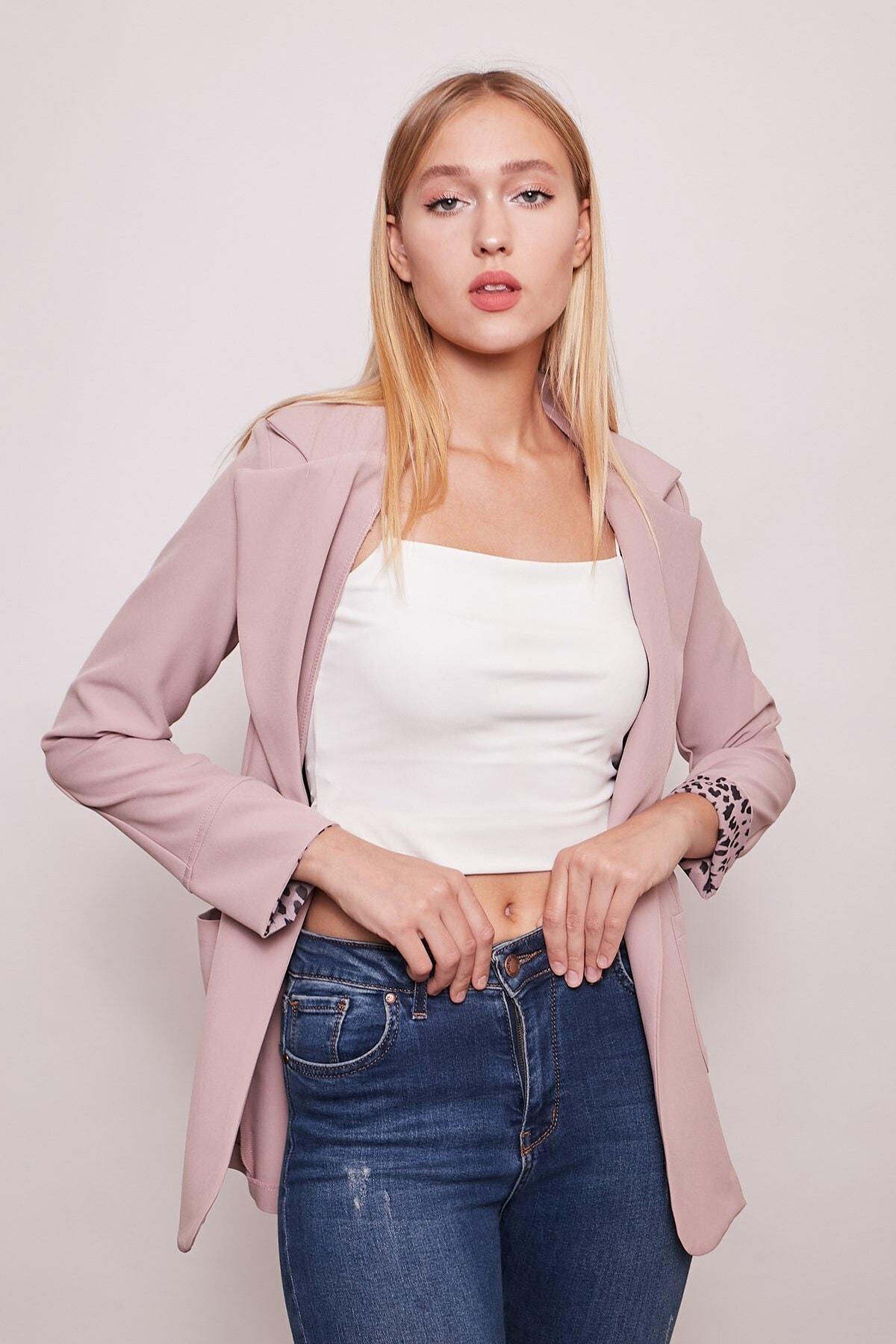Yakalı Cepli Uzun Kol Katlamalı Blazer Kumaş Ceket-pudra