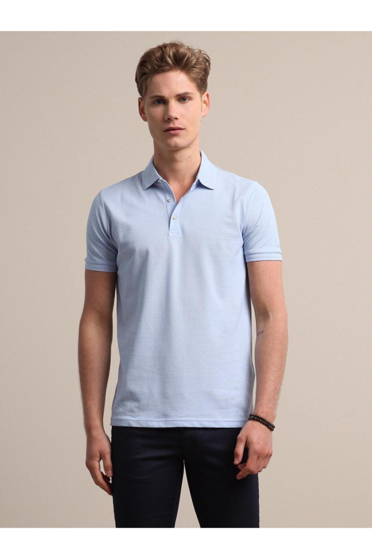 Erkek Mavi Düz Örme T - Shirt KP10120555