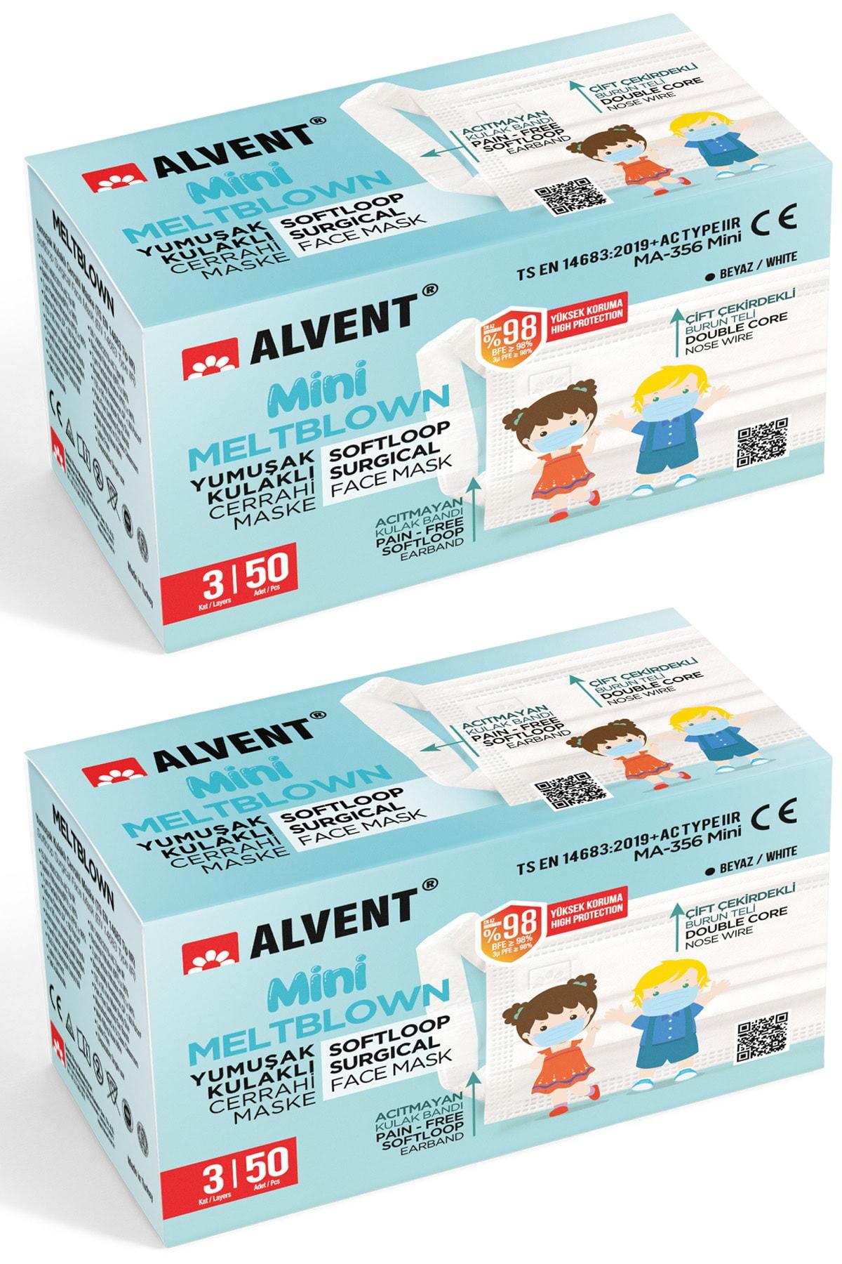 Çocuklar Için Yumuşak Kulaklı Meltblown Maske - 100 Adet ( En Az %98 Koruma - Sertifikalı )- Beyaz