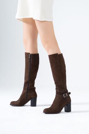 Hakiki Deri Kadın Çizme Topuklu Tokalı Kışlık Ayakkabı 20.299